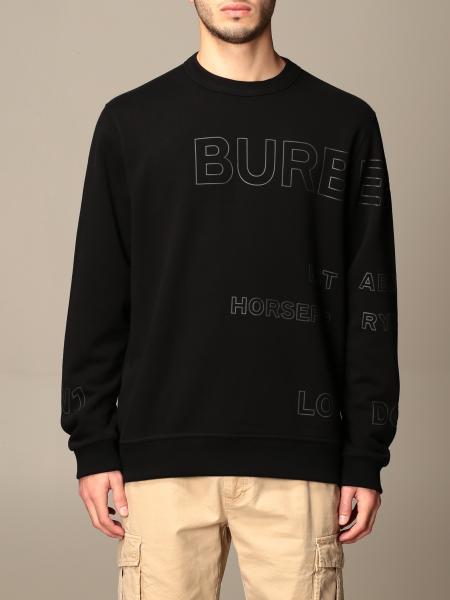 Burberry uomo: Felpa Burberry in cotone con stampa Horseferry
