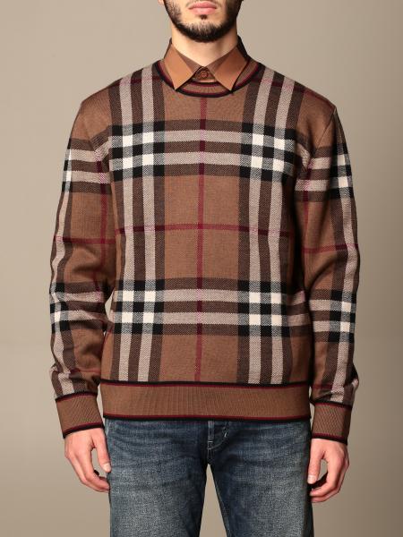 Burberry uomo: Pullover Burberry in lana Merino con motivo tartan e lavorazione jacquard