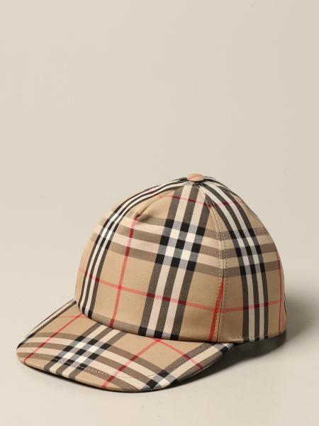 Burberry uomo: Cappello Burberry in misto cotone check