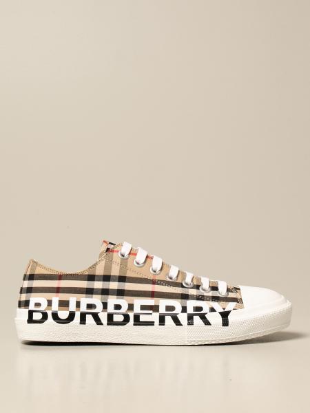 Burberry 格纹帆布和Logo低帮运动鞋