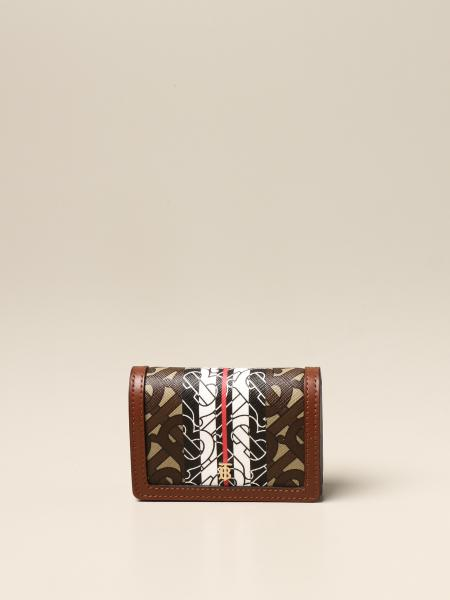 Porta carte Burberry in E-canvas con stampa monogram
