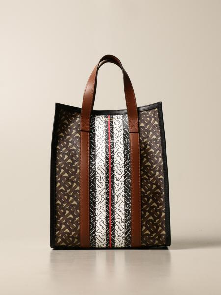 Borsa Portrait Burberry in E-canvas con stampa monogram