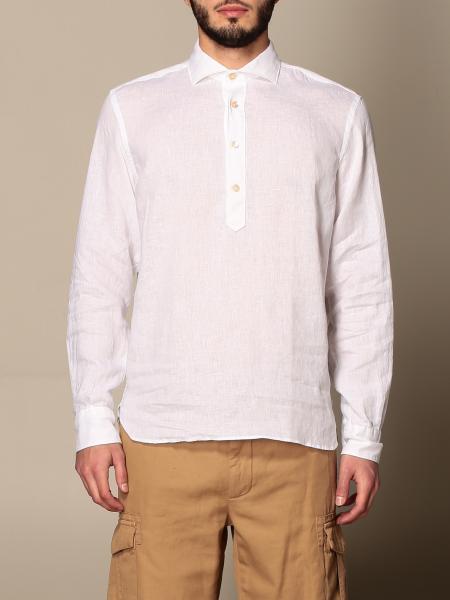 Camicia di lino Eleventy con collo alla coreana