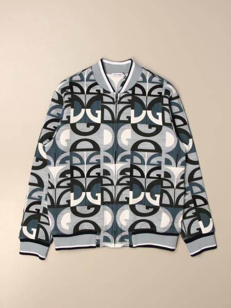 Felpa con zip Dolce & Gabbana in cotone con logo all over
