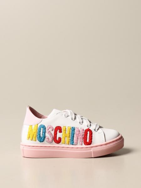 Sneakers Moschino in pelle con logo ricamato
