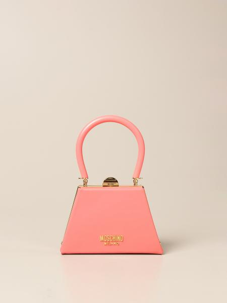 Moschino women: Rigid Moschino Couture leather bag with logo