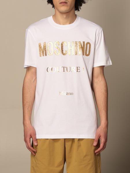 T-shirt Moschino Couture in cotone con logo laminato