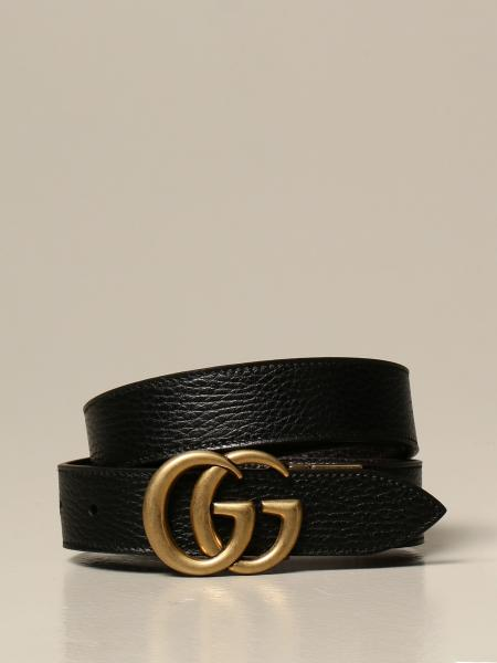 Gucci men: Marmont Gucci reversible belt in hammered leather