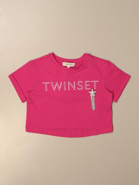 T-shirt cropped Twin-set con logo e spilla