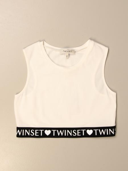 Twin-set cropped top with logoed band