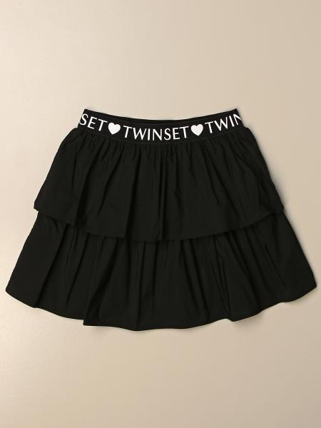 Twin-set short skirt in poplin with logo