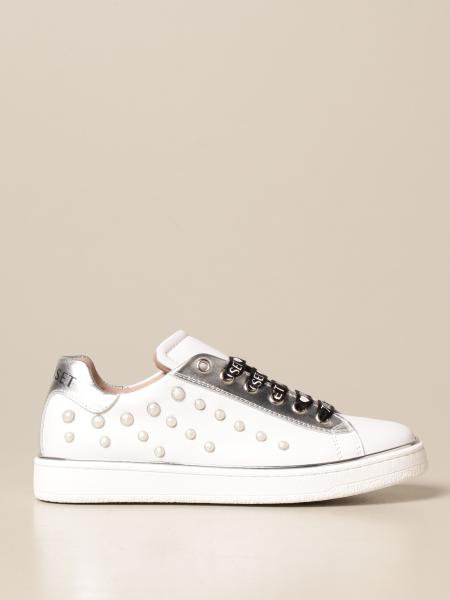Twin-set sneakers in smooth leather with studs