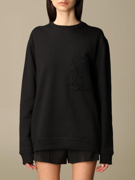 Valentino cotton sweatshirt with macramé pocket