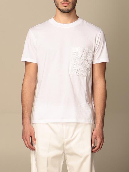 T-shirt Valentino in cotone con taschino in macramé