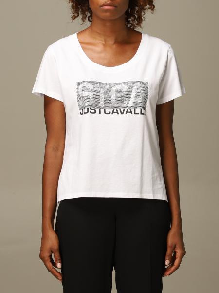 Just Cavalli: Just Cavalli T-shirt with big rhinestone logo