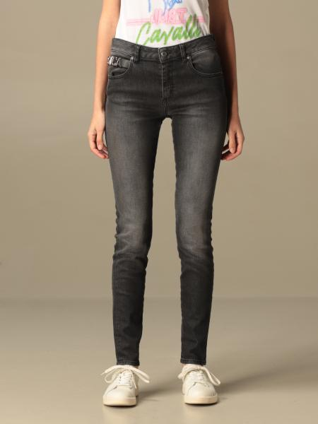 Just Cavalli: Just Cavalli jeans in used denim with logo