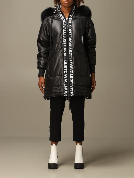 Just Cavalli: Just Cavalli mid down jacket with hood and logo