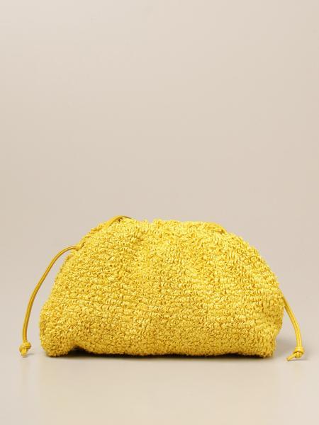 Bottega Veneta women: Bottega Veneta Salon 01 mini pouch clutch in bouclé raffia