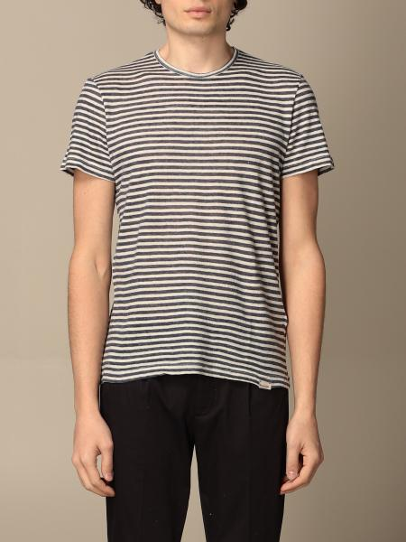 Brooksfield: Brooksfield t-shirt in striped cotton and linen
