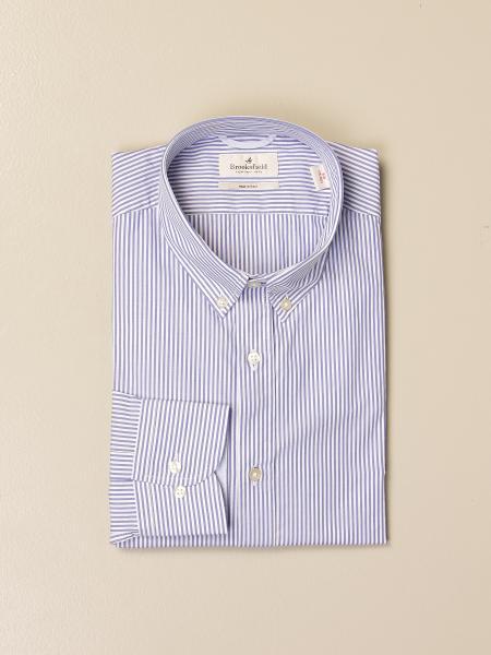 Brooksfield shirt in striped stretch poplin