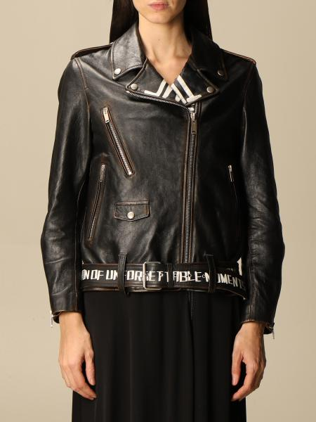 Golden Goose leather jacket with logo