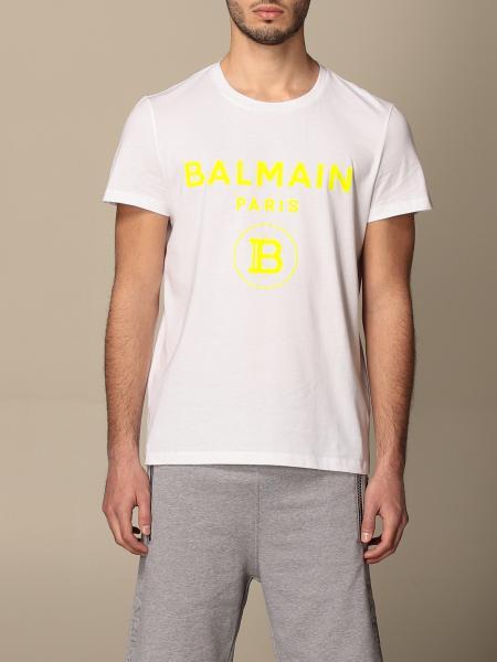 Balmain: T-shirt Balmain in cotone con logo flock