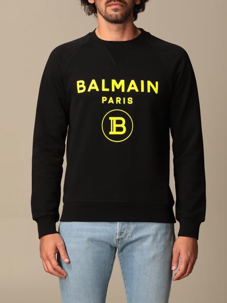 Balmain crewneck sweatshirt in cotton with fluo logo