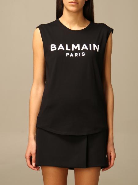 T-shirt Balmain in cotone con logo e bottoni