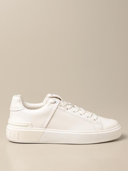 Balmain: Balmain sneakers in leather with logo