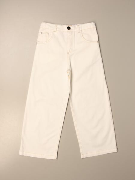 Elisabetta Franchi wide jeans with logo and fringes