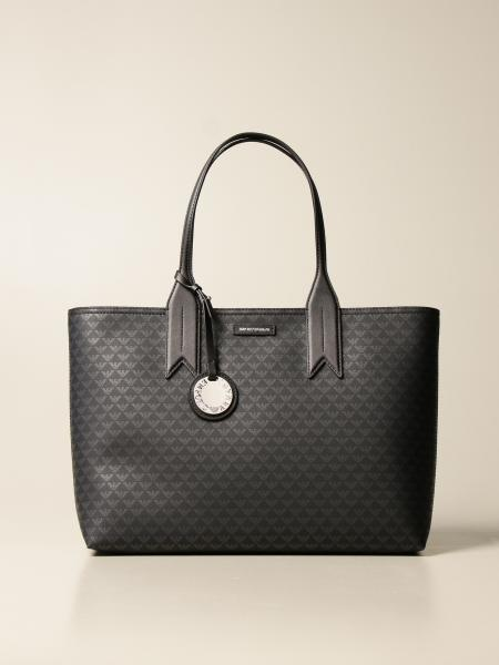 Emporio Armani shopping bag in synthetic leather with all over logo