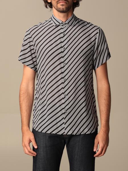 Armani Exchange shirt in modal with diagonal stripes