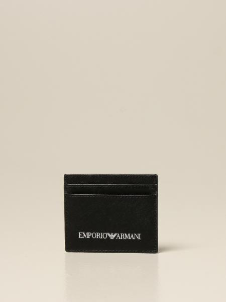 Emporio Armani credit card holder in saffiano synthetic leather with logo