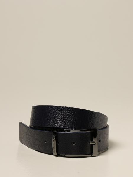 Reversible Emporio Armani belt in smooth and hammered calfskin
