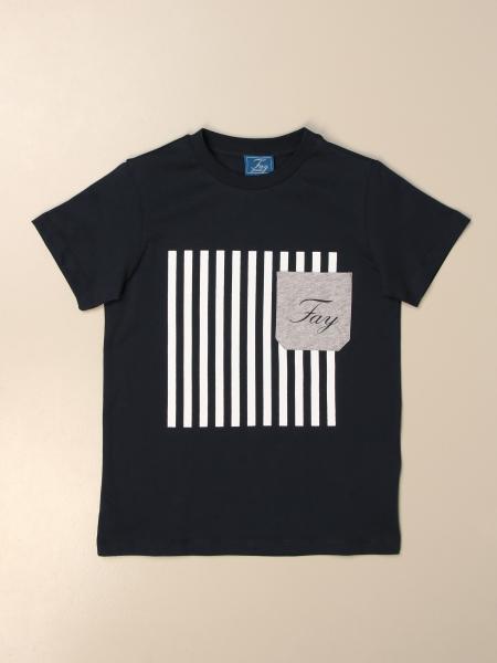 T-shirt Fay in cotone con stampa e logo