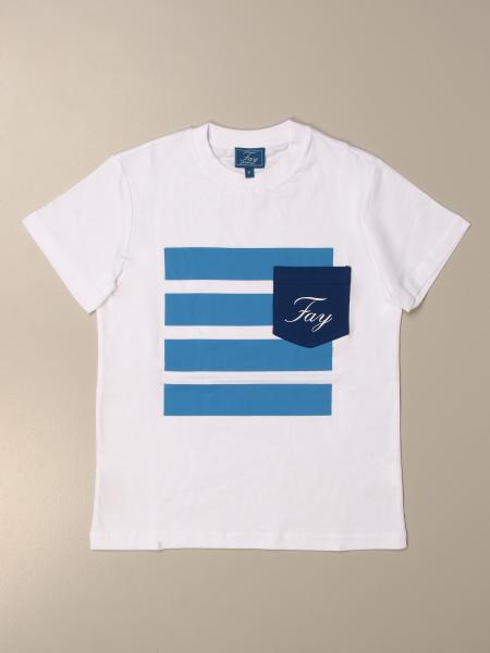 T-shirt Fay in cotone con logo e taschino