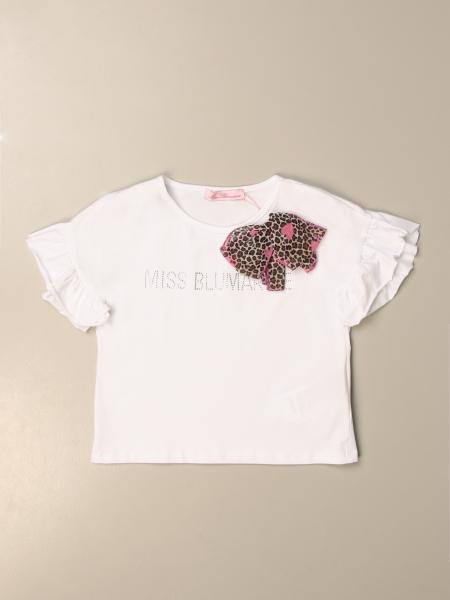T-shirt Miss Blumarine con logo di strass