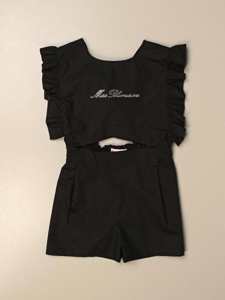 Tutina corta Miss Blumarine in cotone con logo di strass