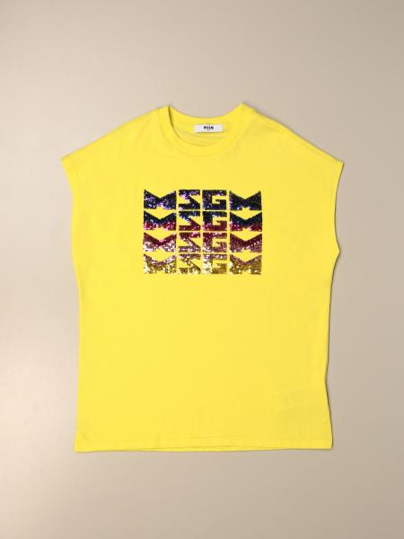 Msgm Kids cotton t-shirt with sequin logo