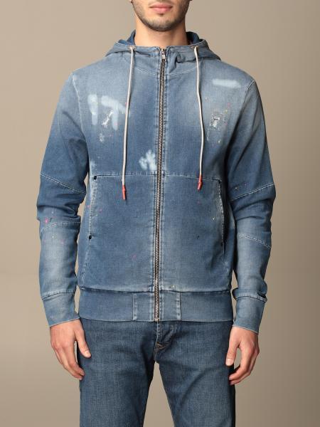 Pmds: Felpa di jeans PMDS con cappuccio e zip
