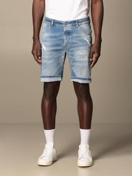 Pmds: Bermuda di jeans PMDS in denim used con schizzi