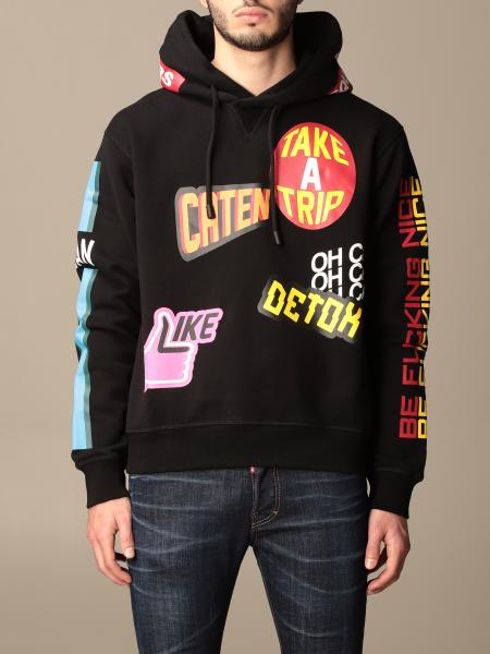 Dsquared2 cotton sweatshirt with all-over logo and patches