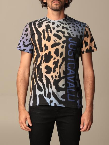 T-shirt Just Cavalli in cotone animalier con logo