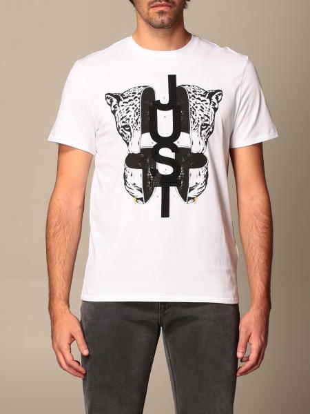 Just Cavalli T-shirt with tiger print and rhinestone logo