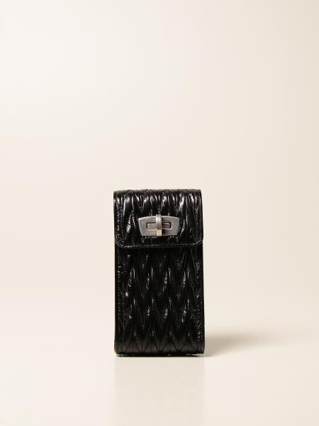 Miu Miu women: Miu Miu cell phone holder in matelassé leather