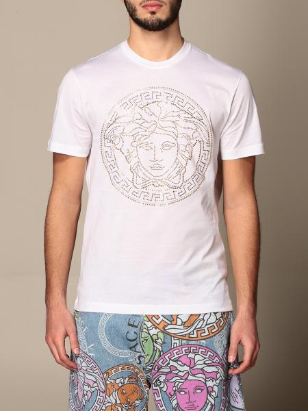 Versace cotton T-shirt with rhinestone Medusa logo