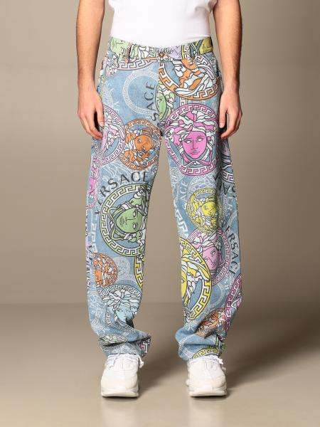 Versace 5-pocket jeans with all-over multicolor medusa head pattern