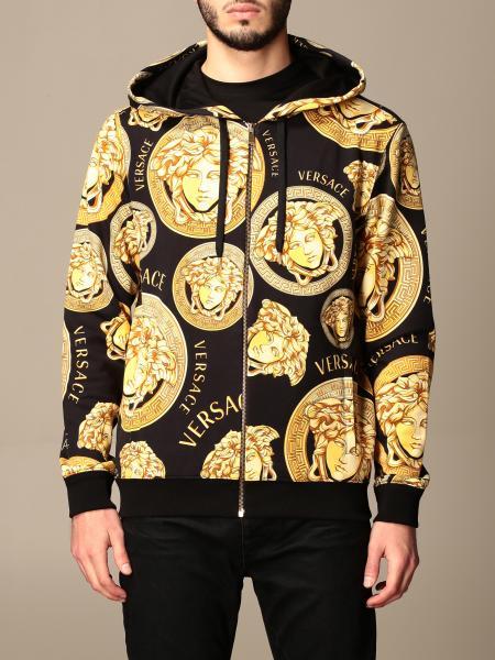 Versace men: Versace hooded sweatshirt in cotton with Medusa head