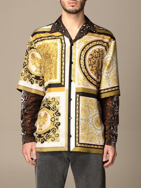 Versace shirt in baroque / python patterned silk