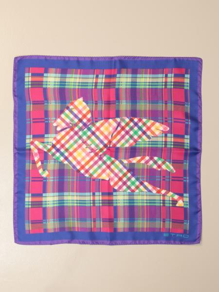 Etro scarf in tartan patterned silk with Pegasus